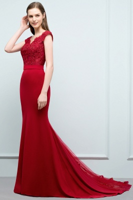 JOURNEY | Mermaid Floor Length V-neck Appliques Beads Prom Dresses with Sash_3
