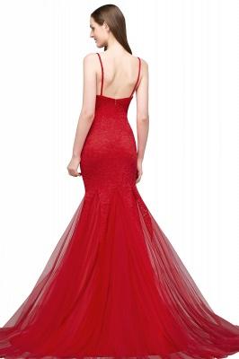 VANESSA | Mermaid Floor Length Illusion Neckline Sleeveless Tulle Lace Prom Dresses_3