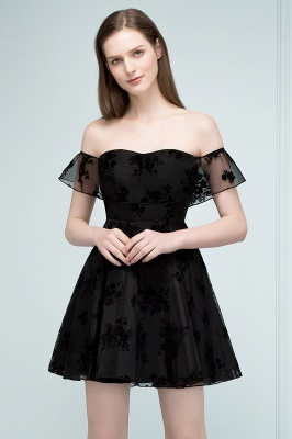 JULIE | A-line Off-shoulder Short Lace Appliqued Tulle Prom Dresses_1