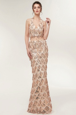 ZENOBIA | Mermaid Two-piece Halter Long Sequined Patterns Champagne Prom Dresses_2