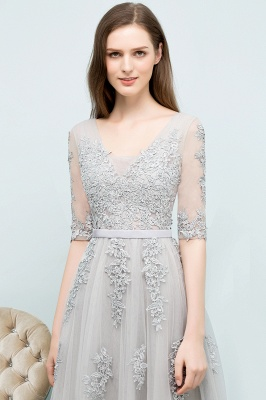 JORDYNN   A-line Half-sleeve V-neck Floor Length Appliqued Tulle Prom Dresses with Sash_15