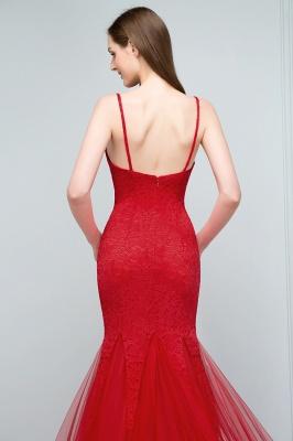 VANESSA | Mermaid Floor Length Illusion Neckline Sleeveless Tulle Lace Prom Dresses_7