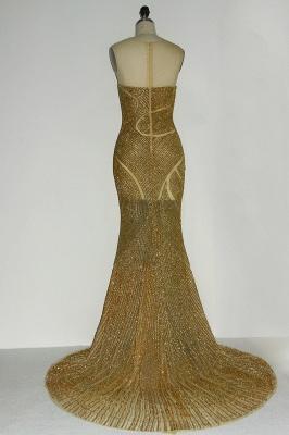 JAYLAH | Mermaid Illusion Neckline Long Sleeveless Golden Sequined Prom Dresses_3