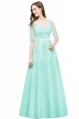 JORDYNN   A-line Half-sleeve V-neck Floor Length Appliqued Tulle Prom Dresses with Sash_8