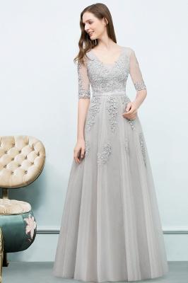 JORDYNN   A-line Half-sleeve V-neck Floor Length Appliqued Tulle Prom Dresses with Sash_11