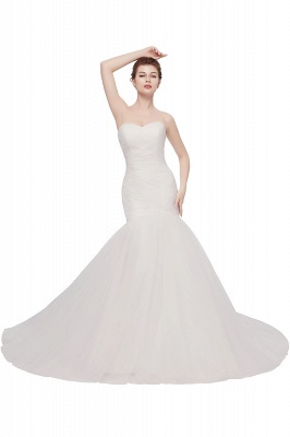 WANDA | Mermaid Sweetheart Strapless Ivory Tulle Wedding Dresses with Lace-up