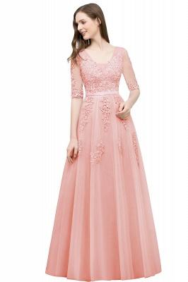 JORDYNN   A-line Half-sleeve V-neck Floor Length Appliqued Tulle Prom Dresses with Sash_2