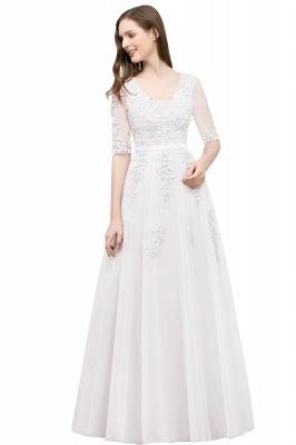 JORDYNN   A-line Half-sleeve V-neck Floor Length Appliqued Tulle Prom Dresses with Sash_1