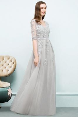 JORDYNN   A-line Half-sleeve V-neck Floor Length Appliqued Tulle Prom Dresses with Sash_13