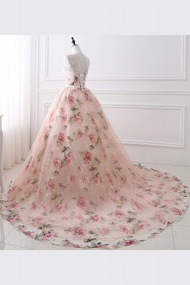ALIA   Ball Gown Sweetheart Vintage Organza Evening Dresses With Print_8