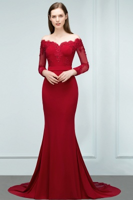 JOYCE | Mermaid Floor Length V-neck Off-shoulder Long Sleeves Appliqued Prom Dresses_6