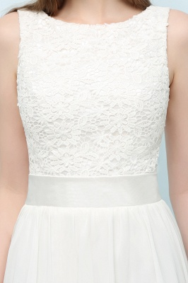 VALERIE | A-line Knee Length Sleevelss Crew Lace Chiffon White Prom Dresses_9