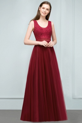 JULIANNA   A-line Scoop Long Sleevless Lace Top Burgundy Tulle Prom Dresses_8