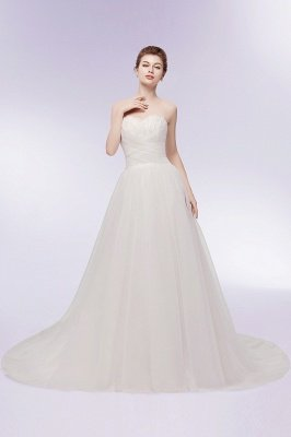 XENIA | A-line Sweetheart Strapless Tulle Wedding Dresses with Feathers