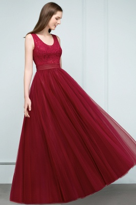 JULIANNA   A-line Scoop Long Sleevless Lace Top Burgundy Tulle Prom Dresses_4