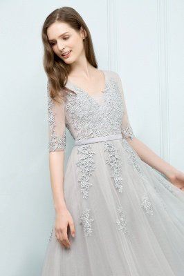 JORDYNN | A-line Half-sleeve V-neck Floor Length Appliqued Tulle Prom Dresses with Sash_18