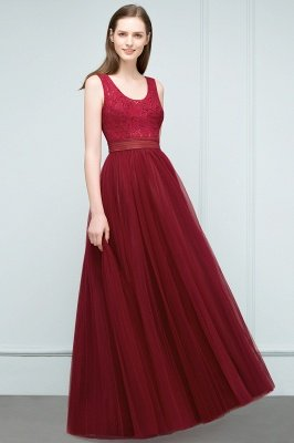 JULIANNA   A-line Scoop Long Sleevless Lace Top Burgundy Tulle Prom Dresses_7