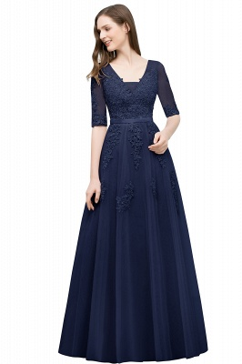 JORDYNN | A-line Half-sleeve V-neck Floor Length Appliqued Tulle Prom Dresses with Sash_9