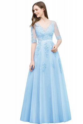 JORDYNN | A-line Half-sleeve V-neck Floor Length Appliqued Tulle Prom Dresses with Sash_8