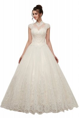YOLANDE | A-line High Neck Short Sleeves Long Lace Appliques Wedding Dresses with Lace-up