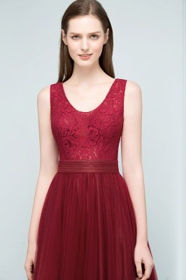 JULIANNA   A-line Scoop Long Sleevless Lace Top Burgundy Tulle Prom Dresses_6