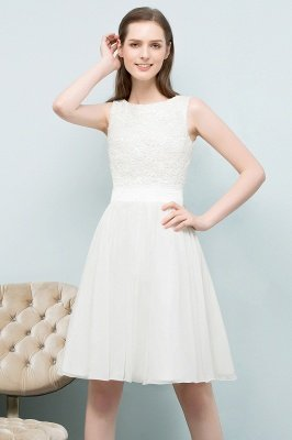 VALERIE | A-line Knee Length Sleevelss Crew Lace Chiffon White Prom Dresses_7