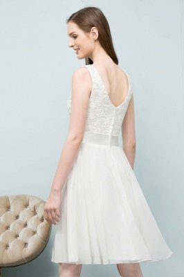 VALERIE | A-line Knee Length Sleevelss Crew Lace Chiffon White Prom Dresses_10