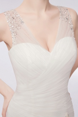 WENDY | Mermaid V-neck Floor Length Tulle Wedding Dresses with Crystals