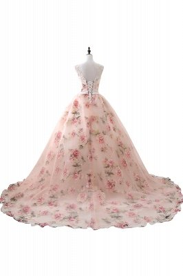 Vintage Sheer Champagne Print Flowers A Line Long Evening Dresses