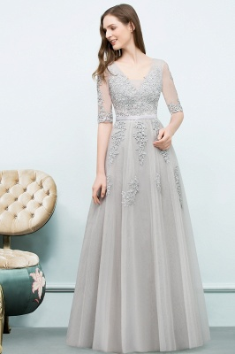 JORDYNN | A-line Half-sleeve V-neck Floor Length Appliqued Tulle Prom Dresses with Sash_15
