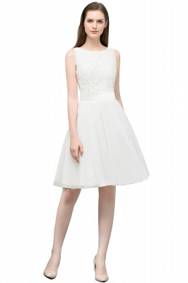 VALERIE | A-line Knee Length Sleevelss Crew Lace Chiffon White Prom Dresses_2