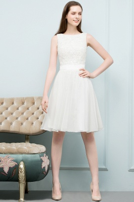 VALERIE | A-line Knee Length Sleevelss Crew Lace Chiffon White Prom Dresses_12
