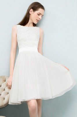 VALERIE | A-line Knee Length Sleevelss Crew Lace Chiffon White Prom Dresses_4