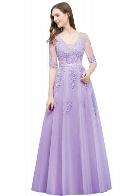JORDYNN | A-line Half-sleeve V-neck Floor Length Appliqued Tulle Prom Dresses with Sash_7