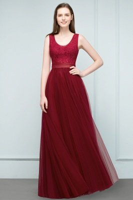 JULIANNA   A-line Scoop Long Sleevless Lace Top Burgundy Tulle Prom Dresses_5