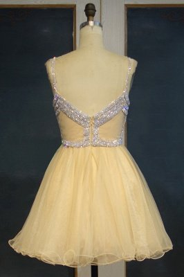 Custom Made Sexy Spaghetti Straps Silver Beads Sequins Cute Short Homecoming Dresses_3