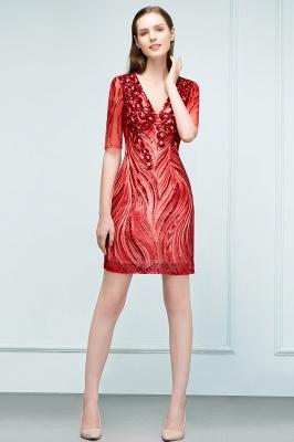 STEPHANIE | Sheath V-neck Half Sleeves Short Sequins Homecoming Dresses_1