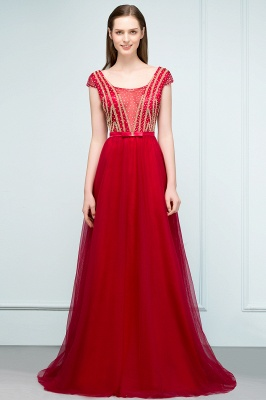 SUSY | A-line Floor Length Cap Sleeves Crystal Beading Tulle Prom Dresses with Sash_5