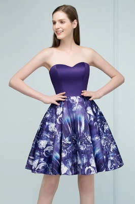 RICARDA | A-line Strapless Sweetheart Short Print Homecoming Dresses_8
