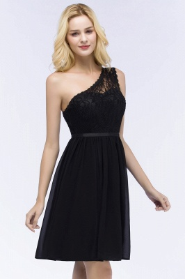 ROSA | A-line Short One-shoulder Lace Top Chiffon Homecoming Dresses with Sash_9