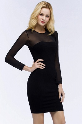 ROBERTA | Sheath Long Sleeves Sheer Neckline Plus Size Short Black Homecoming Dresses_7