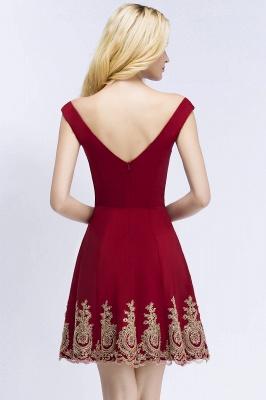 ROSE | A-line V-neck Short Off-shoulder Appliques Burgundy Homecoming Dresses_3