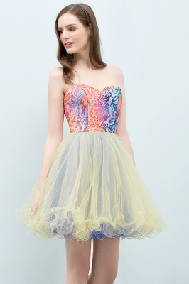 SHONA | A-line Strapless Sweetheart Short Sequined Tulle Homecoming Dresses_7