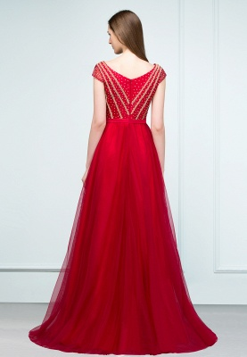 SUSY | A-line Floor Length Cap Sleeves Crystal Beading Tulle Prom Dresses with Sash_7