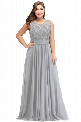 IVY | A-Line Crew Long Plus size Sleeveless Dark Navy Formal Dresses with Lace_5