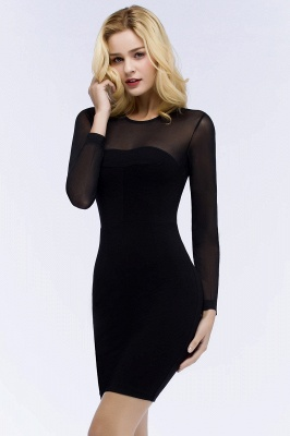 ROBERTA | Sheath Long Sleeves Sheer Neckline Plus Size Short Black Homecoming Dresses_6