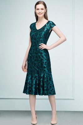 REGINA | Mermaid V-neck Tea Length Lace Appliqued Prom Dresses_1