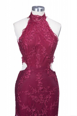 SALLIE | Mermaid High-Neck Burgundy Sheer-Tulle Lace Appliques Prom Dresses_6