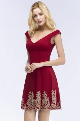 ROSE | A-line V-neck Short Off-shoulder Appliques Burgundy Homecoming Dresses_5