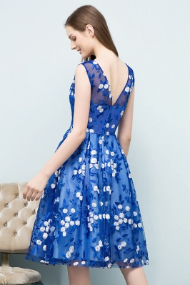 STARR | A-line Knee Length Sleeveless Flower Appliques Tulle Homecoming Dresses_3
